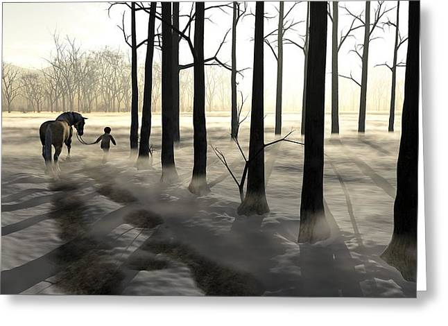 Winters Greeting Cards - Winter Walk Greeting Card by Cynthia Decker