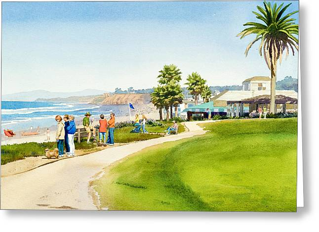 Winter Walk Del Mar Greeting Card by Mary Helmreich