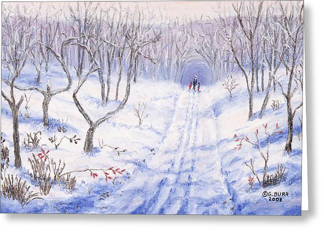Winter Roads Pastels Greeting Cards - Winter Walk Greeting Card by George Burr