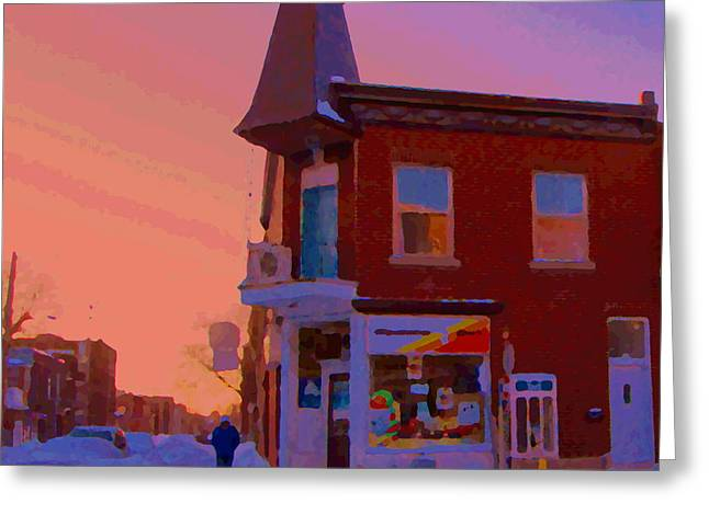 Verdun Restaurants Greeting Cards - Winter Walk In Verdun Depanneur 7 Jours Art Of Verdun Montreal Street Scenes Carole Spandau Greeting Card by Carole Spandau