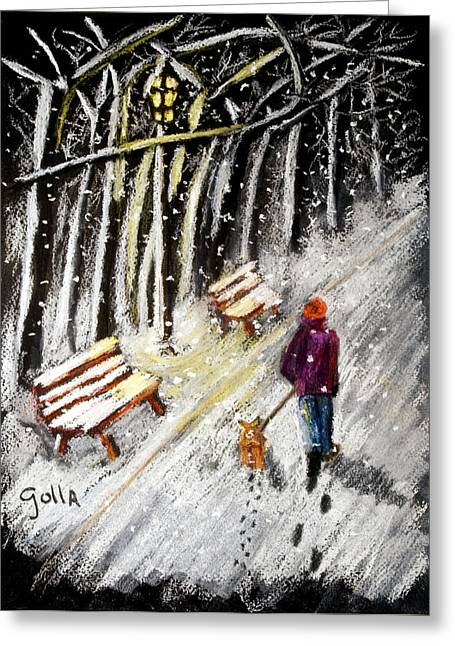 Dog In Snow Pastels Greeting Cards - Winter Walk Greeting Card by Lawrence Golla