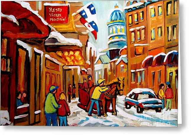 Recently Sold -  - The Plateaus Greeting Cards - Winter Walk Montreal Greeting Card by Carole Spandau
