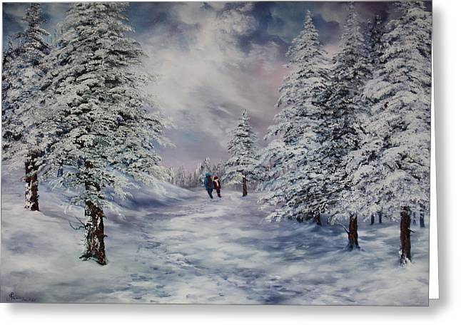 Forestry Commission Greeting Cards - Winter Walk on Cannock Chase Greeting Card by Jean Walker
