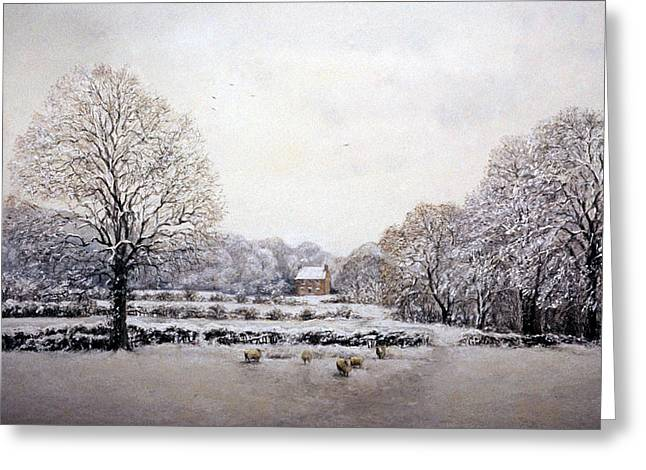 Snow Scene Landscape Pastels Greeting Cards - Winter Walk Greeting Card by Rosemary Colyer