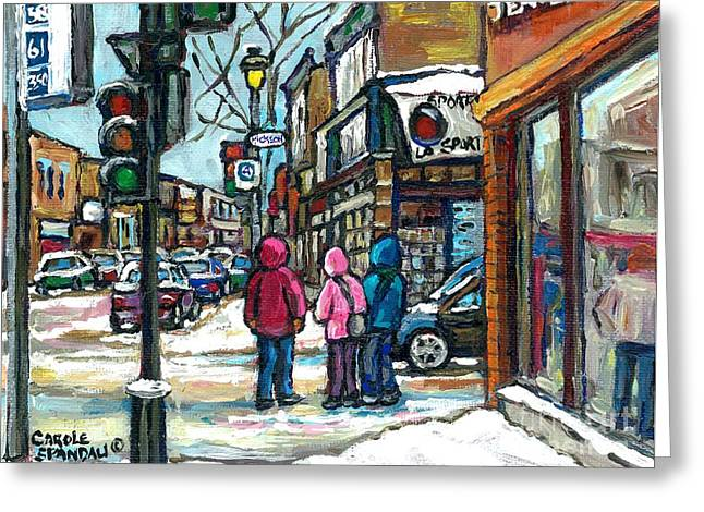 Verdun Restaurants Greeting Cards - Winter Walk Snowy Day Rue Wellington Verdun Street Scene Paintings Montreal Urban Landscape Cspandau Greeting Card by Carole Spandau
