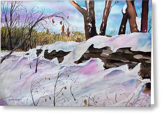 Scott Nelson And Son Paintings Greeting Cards - Winter Wall  Greeting Card by Scott Nelson