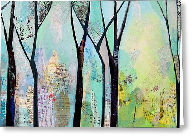 Yellow Trees Greeting Cards - Winter Wanderings II Greeting Card by Shadia Zayed