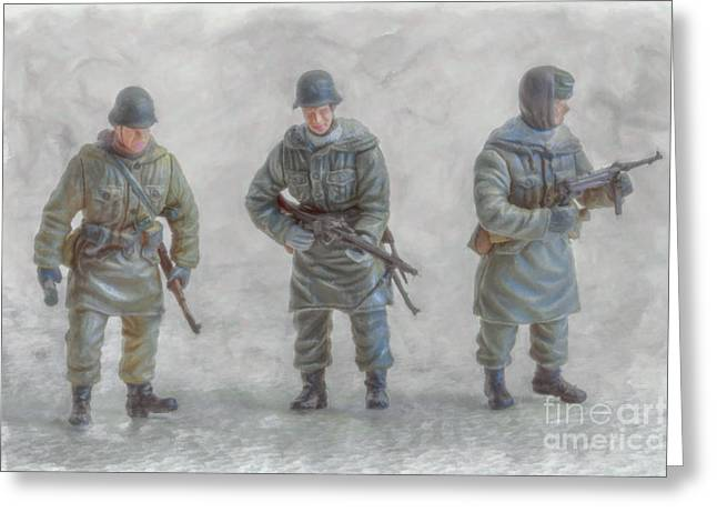 Soldier Of Fortune Greeting Cards - Winter War Panzer Grenadiers Greeting Card by Randy Steele