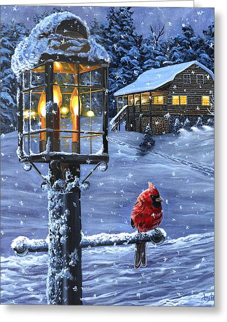 Snowstorm Prints Greeting Cards - Winter Warmth Greeting Card by Christopher Lyter
