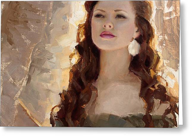 Samantha Greeting Cards - Winter Warmth - Impressionistic Portrait Greeting Card by Karen Whitworth