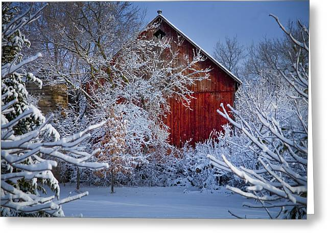 Wisconsin Barn Greeting Cards - Winter Warmth  Greeting Card by Jeff Klingler