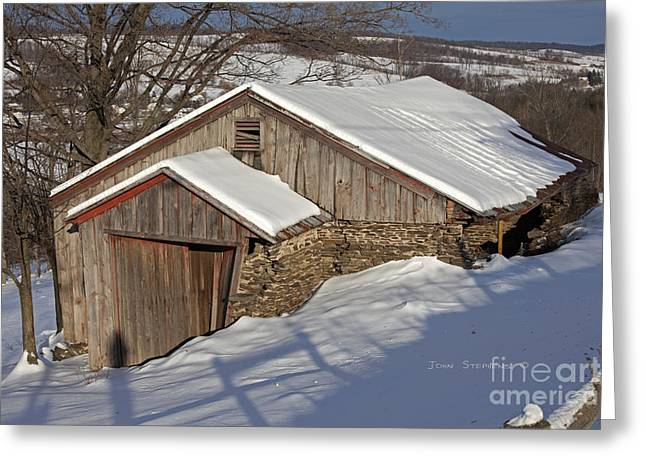 Red Roofed Barn Greeting Cards - Winter Warmth Greeting Card by John Stephens