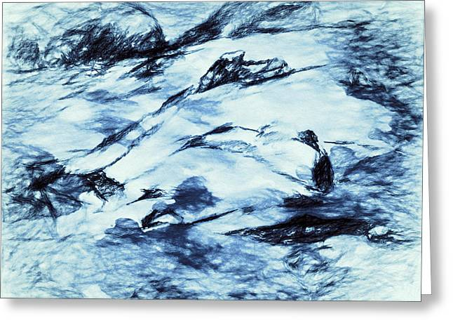 Abstract Digital Drawings Greeting Cards - Winter Wasteland Greeting Card by Jo-Anne Gazo-McKim