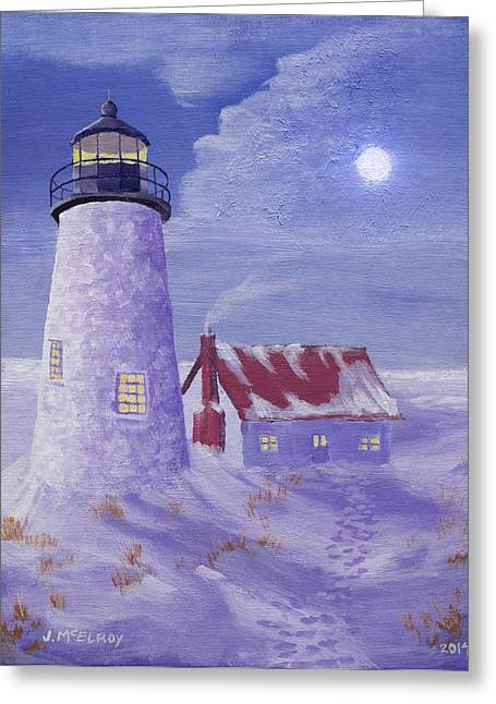 Maine Lighthouses Paintings Greeting Cards - Winter Watch Greeting Card by Jerry McElroy