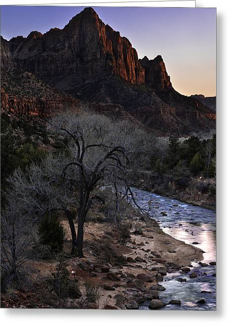 Zion Greeting Cards - Winter Watchman Greeting Card by Chad Dutson