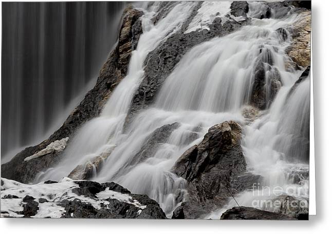 Aquatic Greeting Cards - Winter Waterfall Greeting Card by Alan Palmer