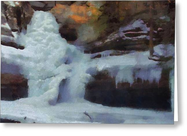 Water In Cave Greeting Cards - Winter Waterfalls Greeting Card by Dan Sproul