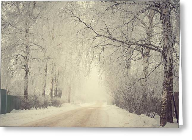 Peaceful Scene Greeting Cards - Winter Way Greeting Card by Jenny Rainbow