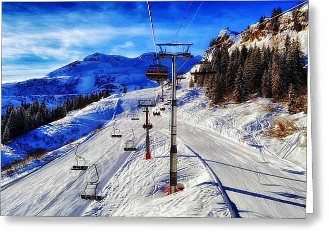 Ski Lift Greeting Cards - Winter Weekend Greeting Card by Mountain Dreams