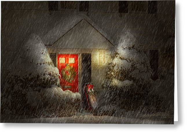 Home Front Greeting Cards - Winter - Westfield NJ - Twas the night before Christmas  Greeting Card by Mike Savad