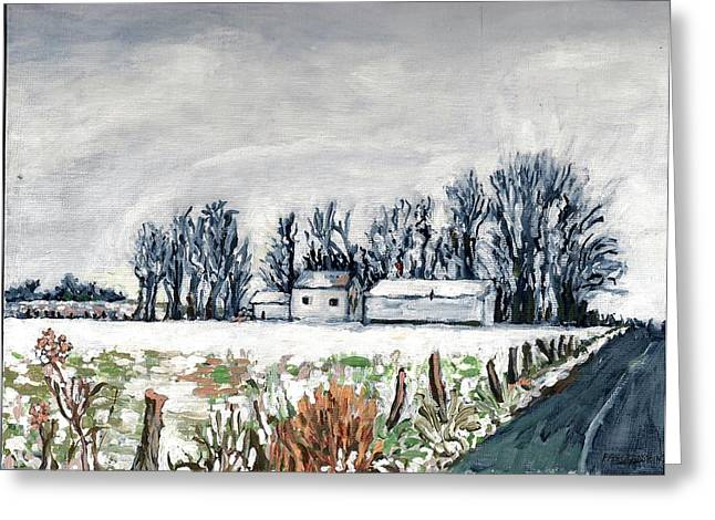 Winter Roads Drawings Greeting Cards - Winter Whisper Greeting Card by Patty Fleckenstein