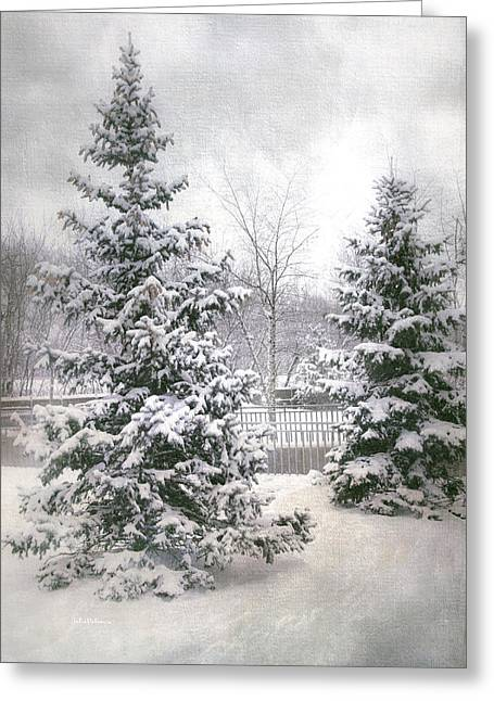 Snow Scene Landscape Greeting Cards - Winter White 2 Greeting Card by Julie Palencia