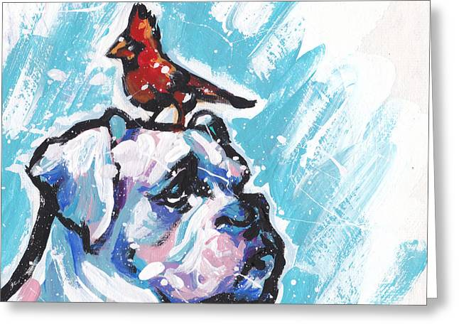 White Paintings Greeting Cards - Winter White Boxer Greeting Card by Lea