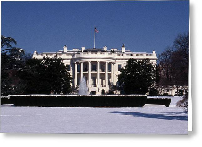 Architectural Treasure Greeting Cards - Winter White House  Greeting Card by Skip Willits