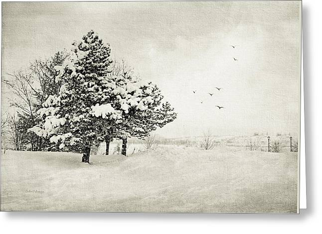Snowy Day Greeting Cards - Winter White Greeting Card by Julie Palencia