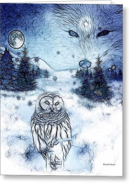 Winter White Greeting Card by The Feathered Lady