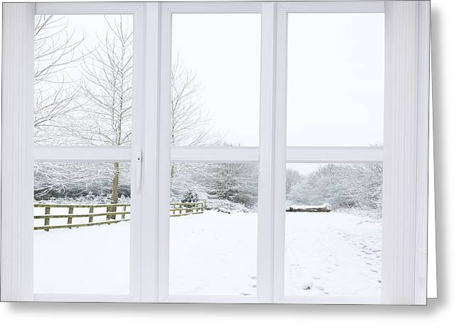 Interior Scene Photographs Greeting Cards - Winter Window Greeting Card by Amanda And Christopher Elwell