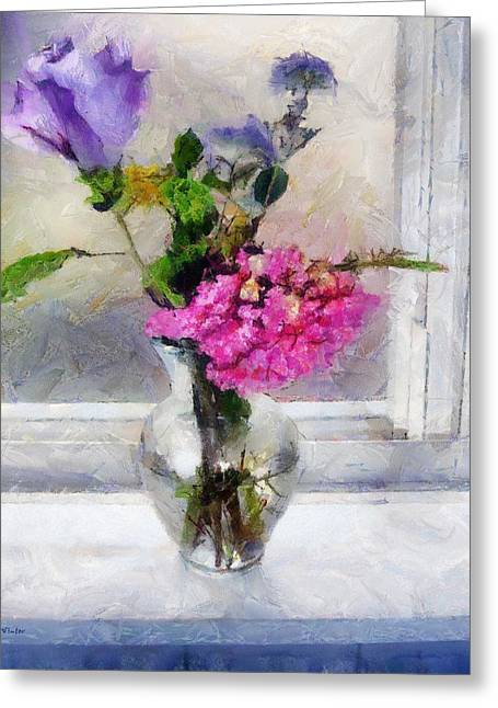 Interior Still Life Digital Greeting Cards - Winter Windowsill Greeting Card by RC deWinter