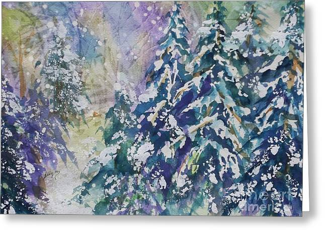 Snow-covered Landscape Greeting Cards - Winter Winds Greeting Card by Ellen Levinson