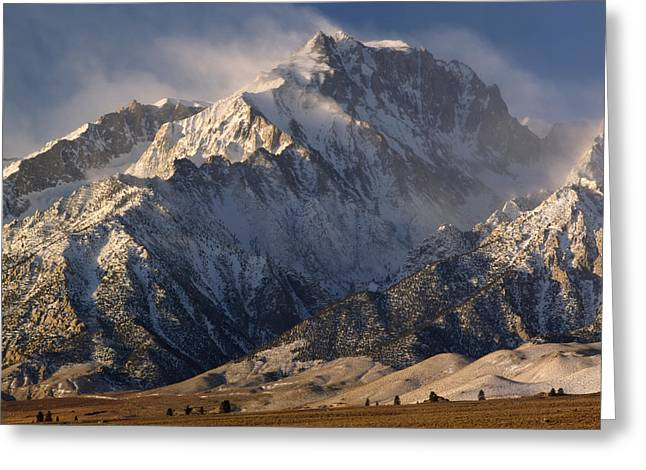 Mt. Massive Greeting Cards - Winter Winds over Mt. Williamson 2M6474 Greeting Card by Ed  Cooper Photography