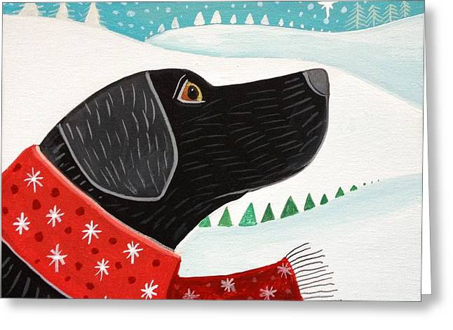 Dogs In Snow. Digital Art Greeting Cards - Winter Wish Greeting Card by Wendy Presseisen