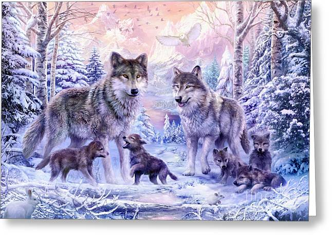 Cute Owl Greeting Cards - Winter Wolf Family  Greeting Card by Jan Patrik Krasny