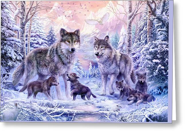 Winter Wolf Family  Greeting Card by Jan Patrik Krasny