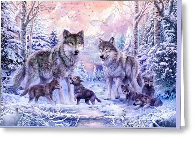 Cute Illustration Greeting Cards - Winter Wolf Family  Greeting Card by Jan Patrik Krasny