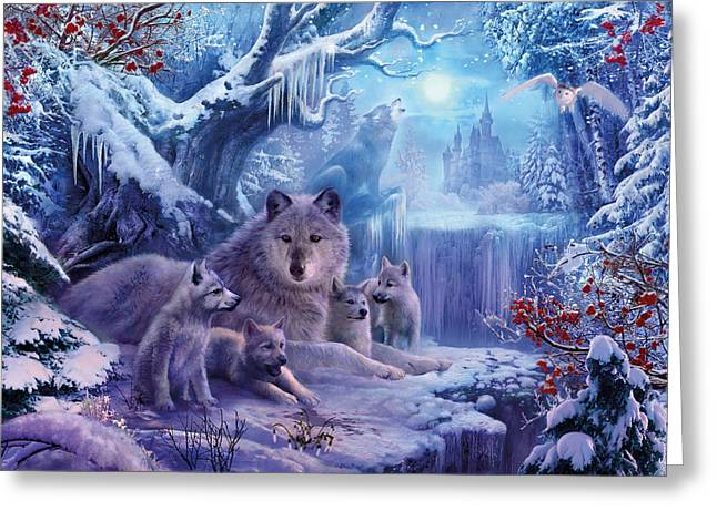 Cute Owl Greeting Cards - Winter Wolves Greeting Card by Jan Patrik Krasny