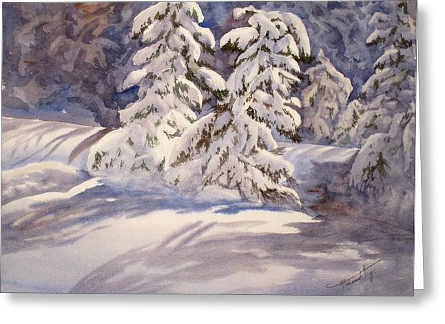 Christmas Art Greeting Cards - Winter Wonder Greeting Card by Mohamed Hirji