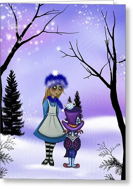 Mad Hatter Digital Art Greeting Cards - Winter Wonderland Greeting Card by Charlene Murray Zatloukal