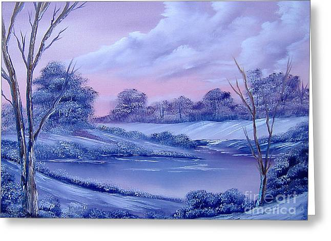 Drifting Snow Paintings Greeting Cards - Winter Wonderland Greeting Card by Cynthia Adams