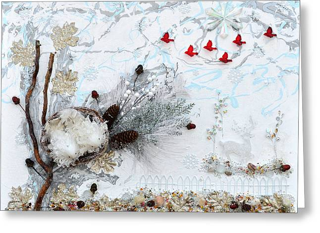 Pines Mixed Media Greeting Cards - Winter Wonderland Greeting Card by Donna Blackhall
