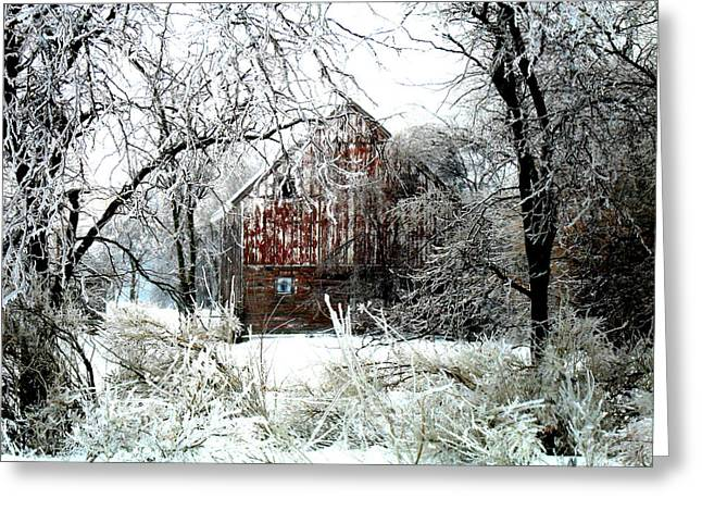 Barn Wood Greeting Cards - Winter Wonderland Greeting Card by Julie Hamilton