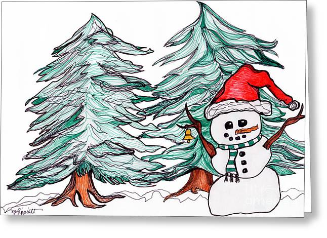 Snow Capped Drawings Greeting Cards - Winter Wonderland Greeting Card by Minnie Lippiatt