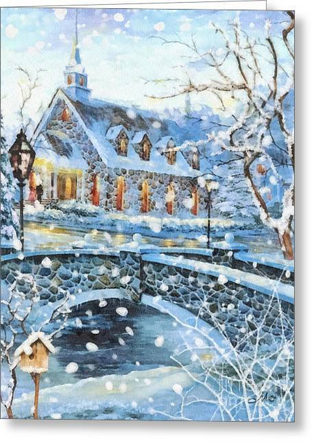 Christmas Greeting Greeting Cards - Winter Wonderland Greeting Card by Mo T
