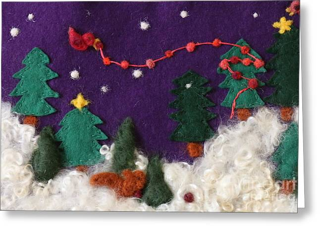 Snow Tree Prints Tapestries - Textiles Greeting Cards - Winter Wonderland Greeting Card by Shakti Chionis