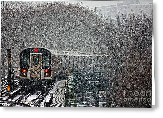 Blizzard New York Greeting Cards - Winter Wonderland vs Winter Woes Greeting Card by Nishanth Gopinathan