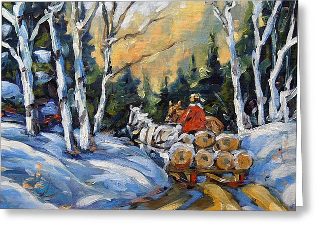 Trout Fishing Greeting Cards - Winter Wood Horses by Prankearts Greeting Card by Richard T Pranke
