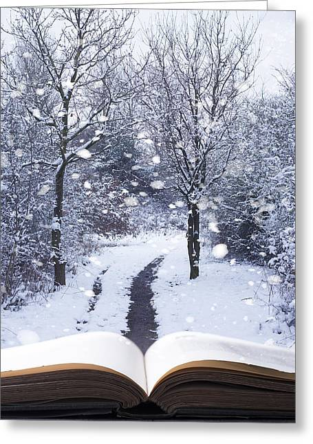Tome Greeting Cards - Winter Woodland Book Greeting Card by Amanda And Christopher Elwell